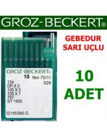 Groz Beckert DP X 5 Düz Makine İğnesi (Gebedur, Sarı Uçlu, Kalın Dip)